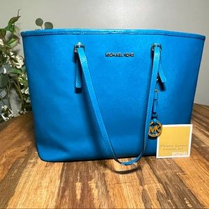 Michael Kors Saffiano Leather Large Turquoise Tote